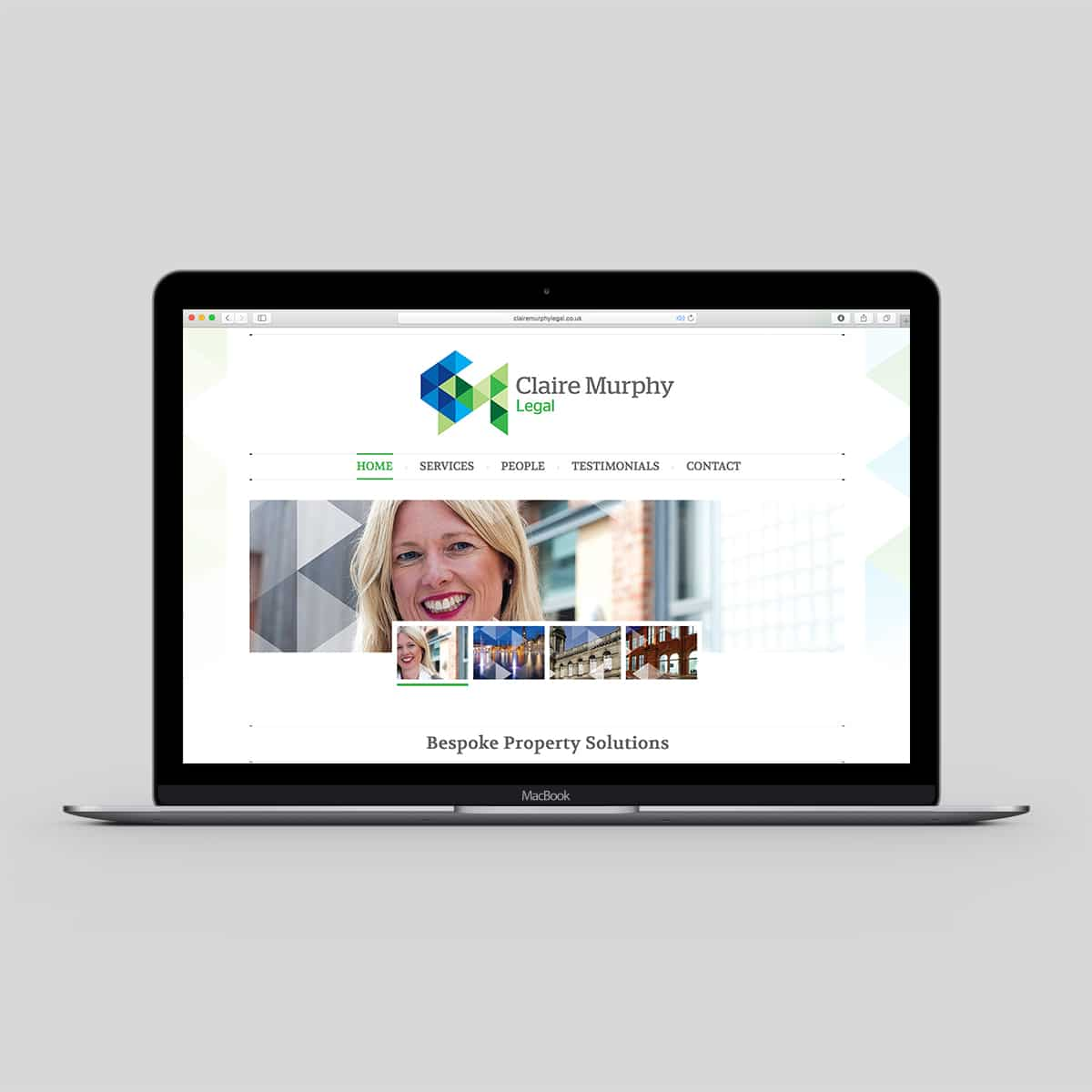 Sample page from website design for Claire Murphy Legal in Ilkley, West Yorkshire displayed on laptop