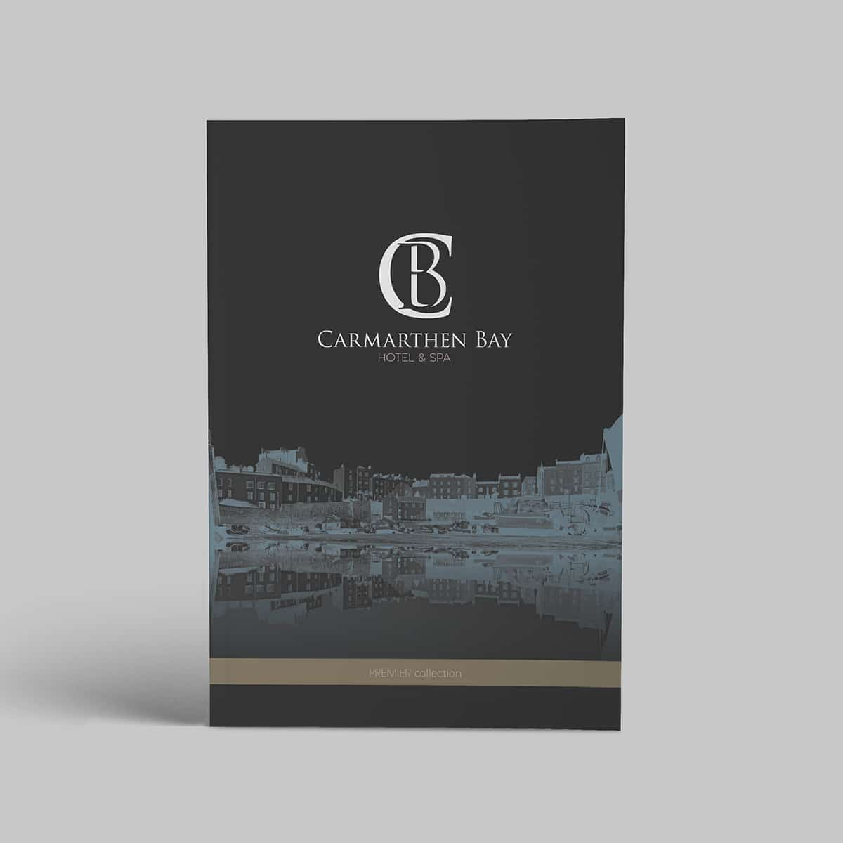 Cover design of brochure for Carmarthen Bay Hotel & Spa featuring logo